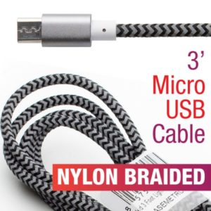 Braided 3' Micro USB Nylon Striped