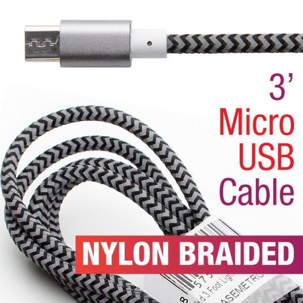 Braided 3' Micro USB Nylon Striped