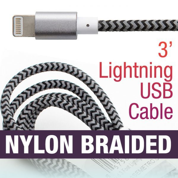 Braided 3' Lighting Cable Nylon Striped