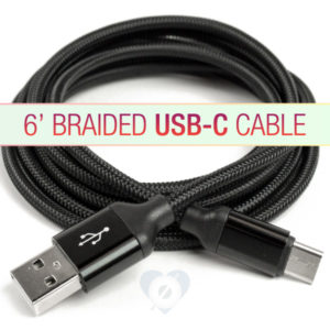6' Braided USB C Cable Extended Length