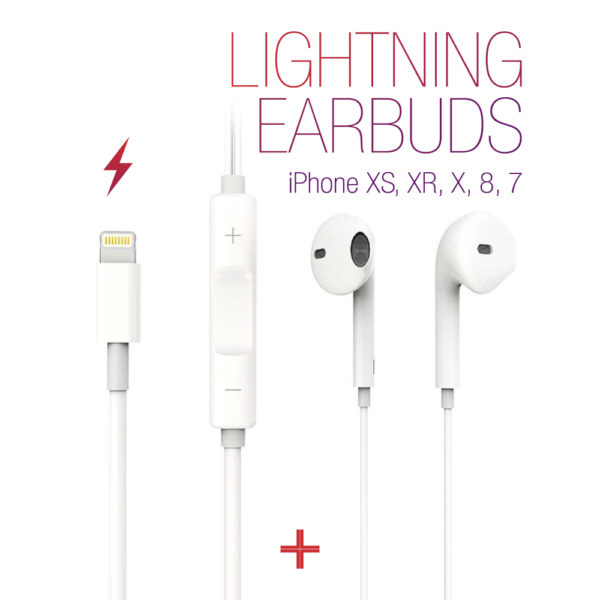 iPhone XS, XR, X, 8, 7 Lightning Earbuds w/ Remote & Mic